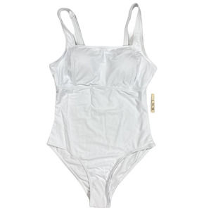 XL White Simple One Piece Swimsuit